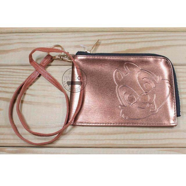 ALL.MY GOD【新品優惠價】迪士尼正版授權 含掛繩手機掛包-奇奇金色款  漆皮壓紋 手機包 手機袋 零錢包 萬用包 手拿包