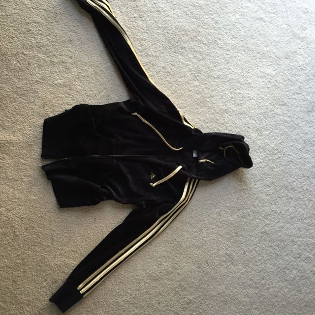 Black And Gold Adidas Velour Hoodie