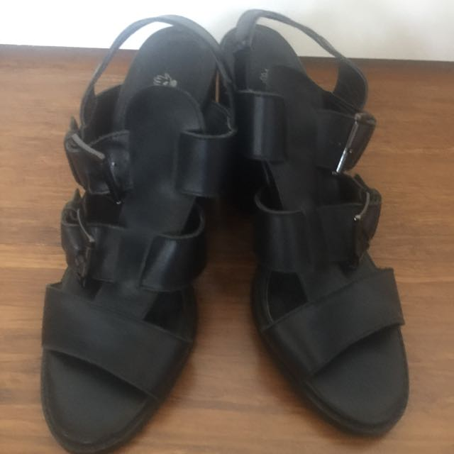 Black Chunky Sandals, Size 38
