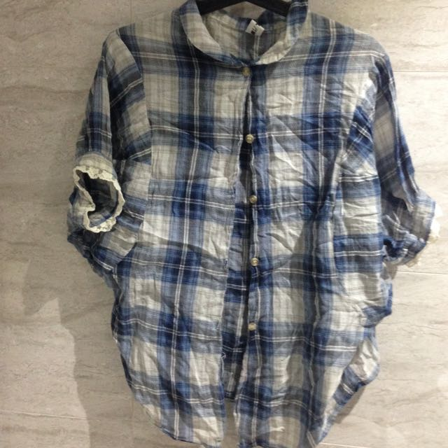 Blue And White Checked Shirt