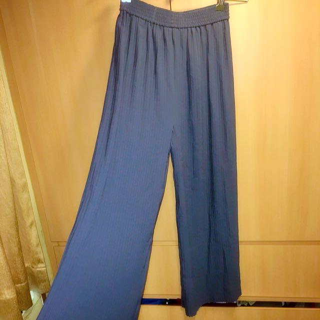 Blue Pleated High Waisted Pants