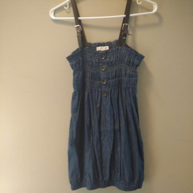 Denim Style Dress With Adjustable Shoulder Straps