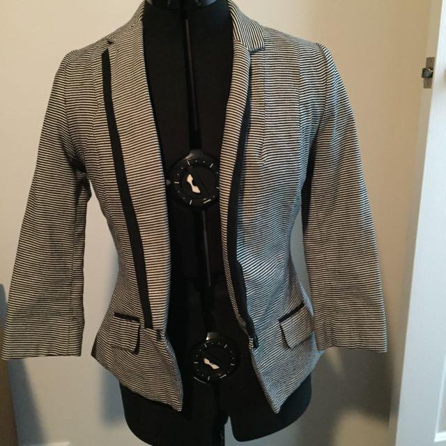 Dotti Fitted Blazer - Black And White Striped