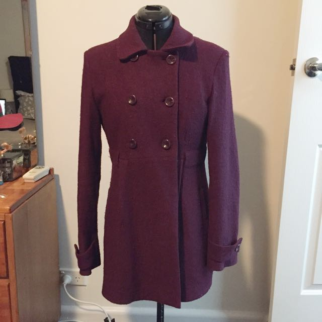 Double Breasted Deep Purple Coat