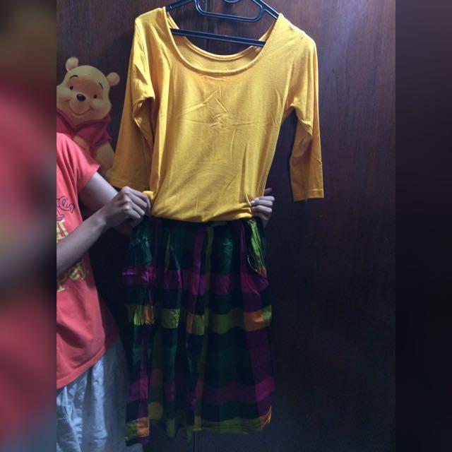 Dress Kuning Kotak Kotak