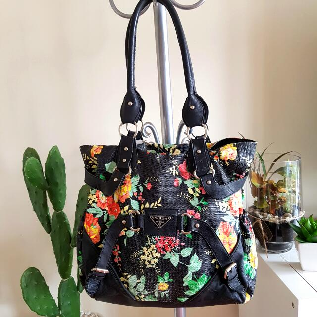 faux 'PRADA' floral shoulder bag