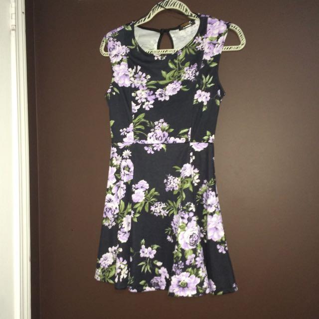 Floral Black Dress