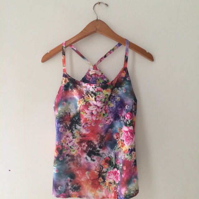 Flowery Cross Back Top