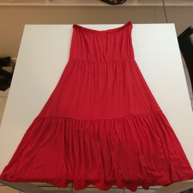 Gap Red Strapless Summer Dress