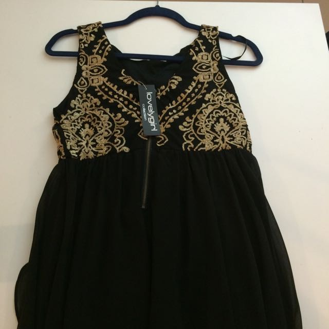 Gorgeous High Low Gold Sequinned Dress