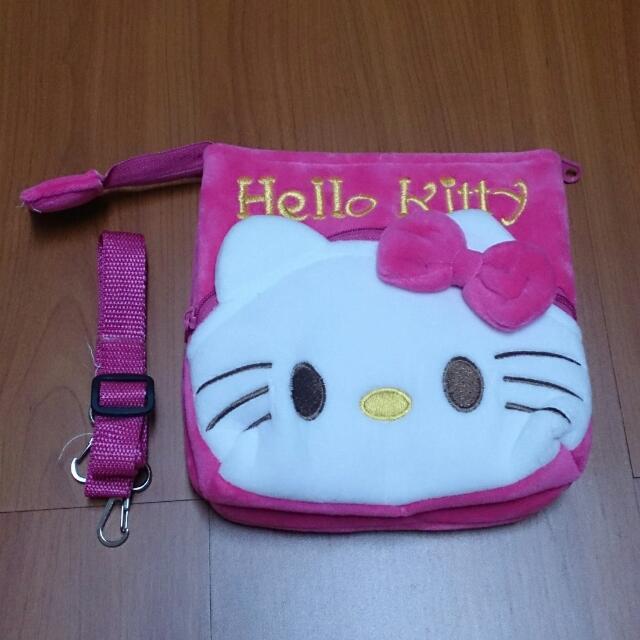 Hello Kitty 凱蒂貓 可愛毛絨收納包 斜背包