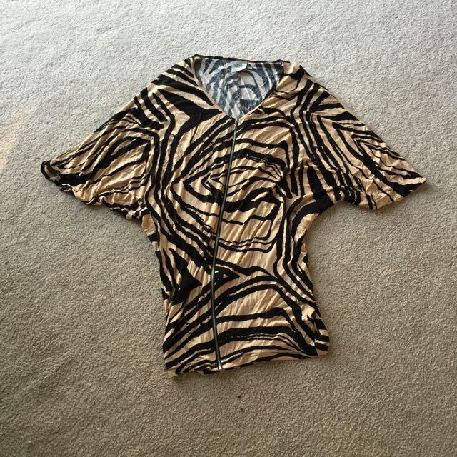 Natasha Gan Batwing Zebra Print Dress