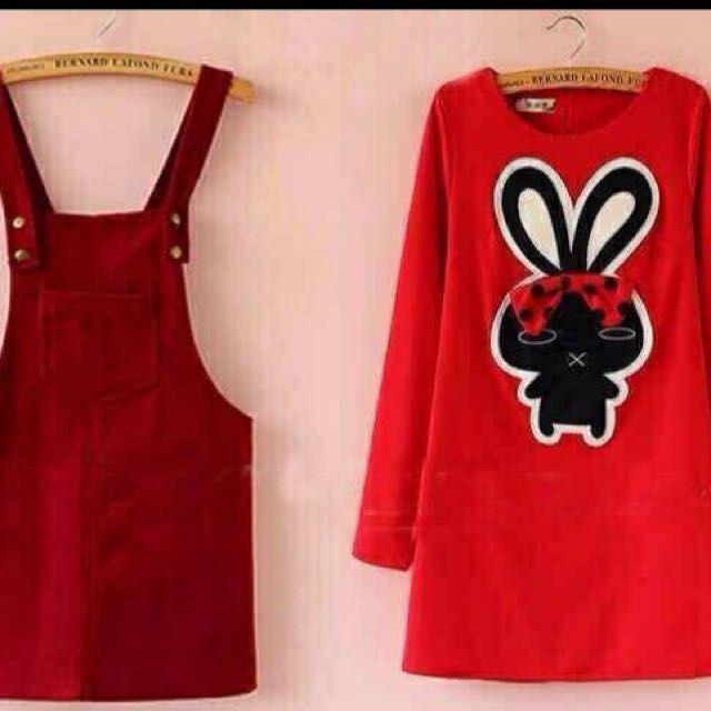 Overall Red / jumpsuit / baju kodok