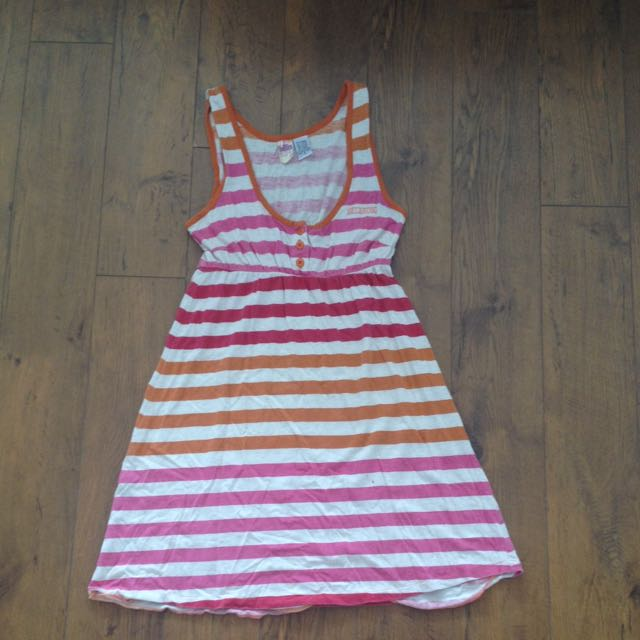 Pink And Orange Striped Dress