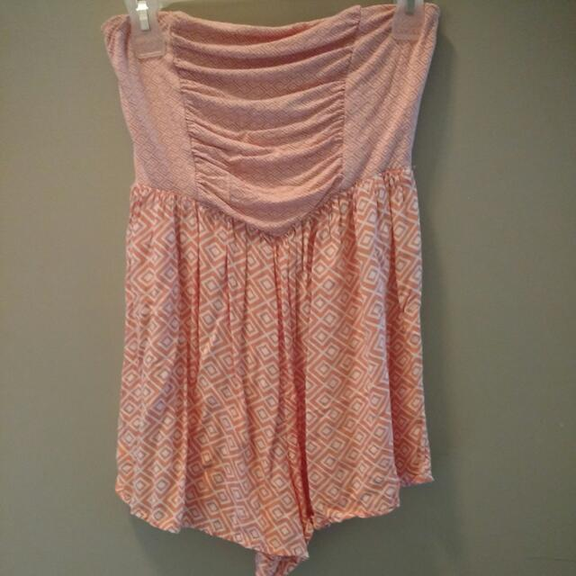 Strapless Peach ROXY Romper With Pattern