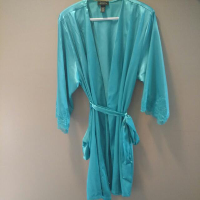 Turquoise Satin Robe With Lace Detail