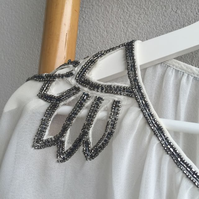 White Shirt With Silver Sparkles