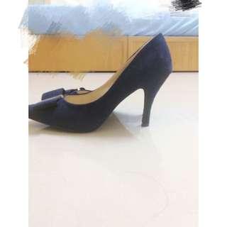 深藍色蝴蝶結高跟鞋