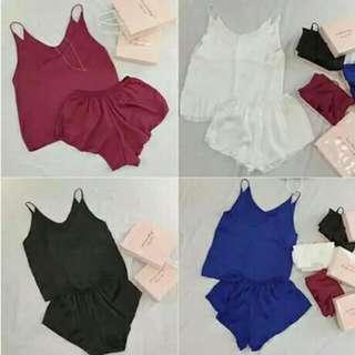 (預購)💗 新款居家服套裝女V領吊帶背心+鬆緊腰小短褲睡衣兩件套裝