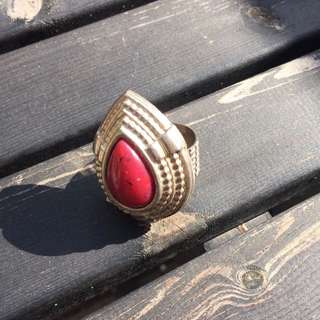 Large Stone And Metal Silver Ring