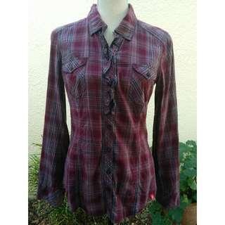 Esprit Collared Check Shirt Size M