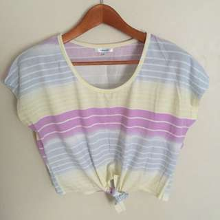 Valleygirl Colourful Cropped Shirt With Knot