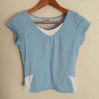 Blue White Workout Shirt