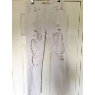 White Ripped Jeans Size 10-12