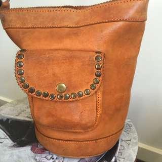 Tan leather Bucket Cross Body Bag