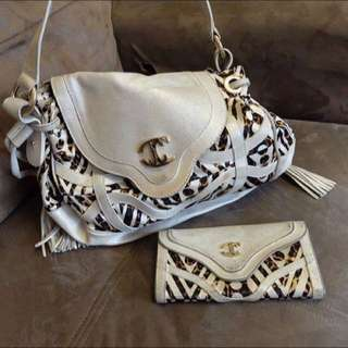 Used Authentic JUST CAVALLI Shoulder Bag And Wallet