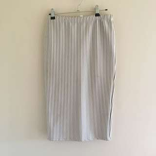 Blue And White Stripe Pencil Skirt