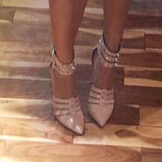 BCBG Nude Studded Heels