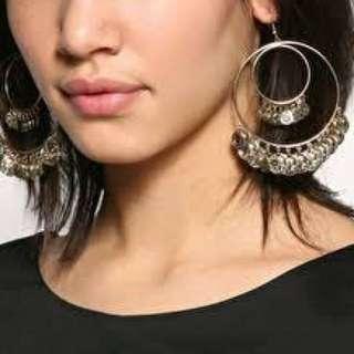 Double Hoop Coin Drop Earrings - Antique Silver