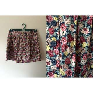 Vintage Floral Button Up Skirt