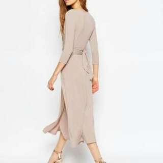 ASOS Wrap Maxi Dress In Nude - Size 8 With Tags