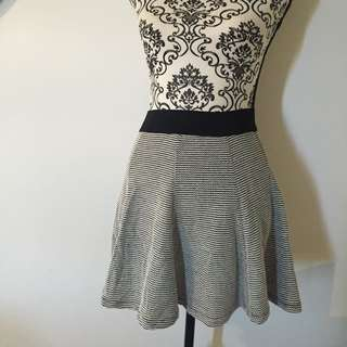 Skater Skirt Size 8 Black And White Herringbone