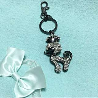 Premium White Crystal Poodle Queen Metal Bag Charm / Keychain