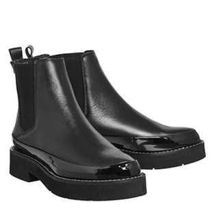 Black Leather/Patent Chelsea Chunky Boot