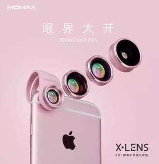 MOMAX 4合1鏡頭組 【廣角、微距、魚眼、偏光鏡】專業版手機鏡頭 航空鋁材+電鍍工藝 粉/銀2色