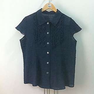 #1212sale Zara Women Ruffle Dark Blue Blouse L