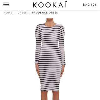 Kookai Stripe Long Sleeve Wool Midi Dress Sz 1