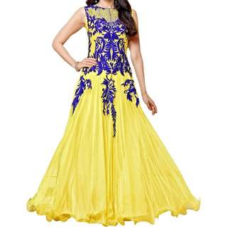 Yellow Faux Georgette Unstitched Dress Material