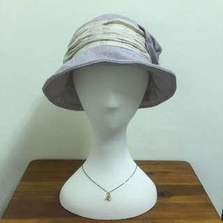 韓國空運 白邊側邊蝴蝶結帽子
