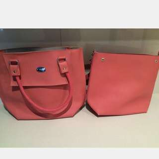 Pink 2 In 1 Leather Tote Bag