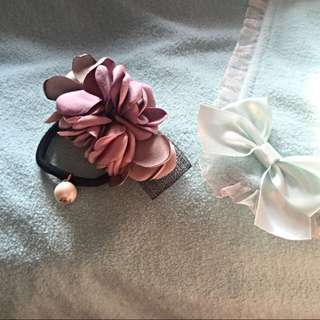 Korea Handmade Flower Elastic Hairband with a small pearl