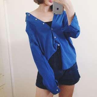 正韓 寶藍襯衫