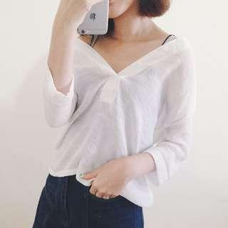 排釦開襟棉麻五分袖襯衫