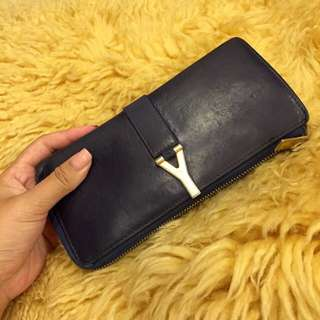 YSL Saint Laurent Paris Classic Zip-around Continental Wallet in Navy
