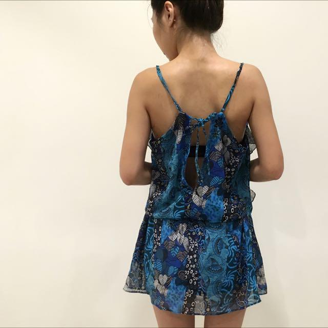 (全新)專櫃品牌2%藍色紗質美背設計感洋裝#女裝五折出清