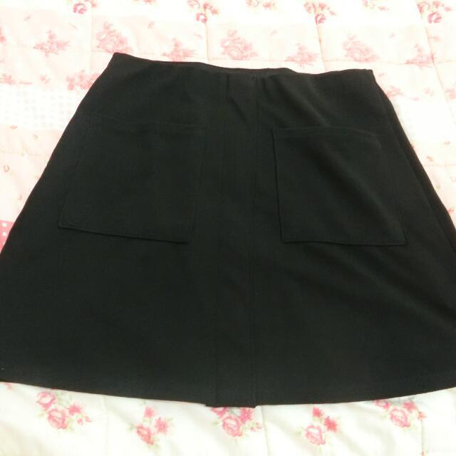 雙口袋黑裙👗